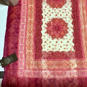 Vince Camuto boho pink paisley scarf